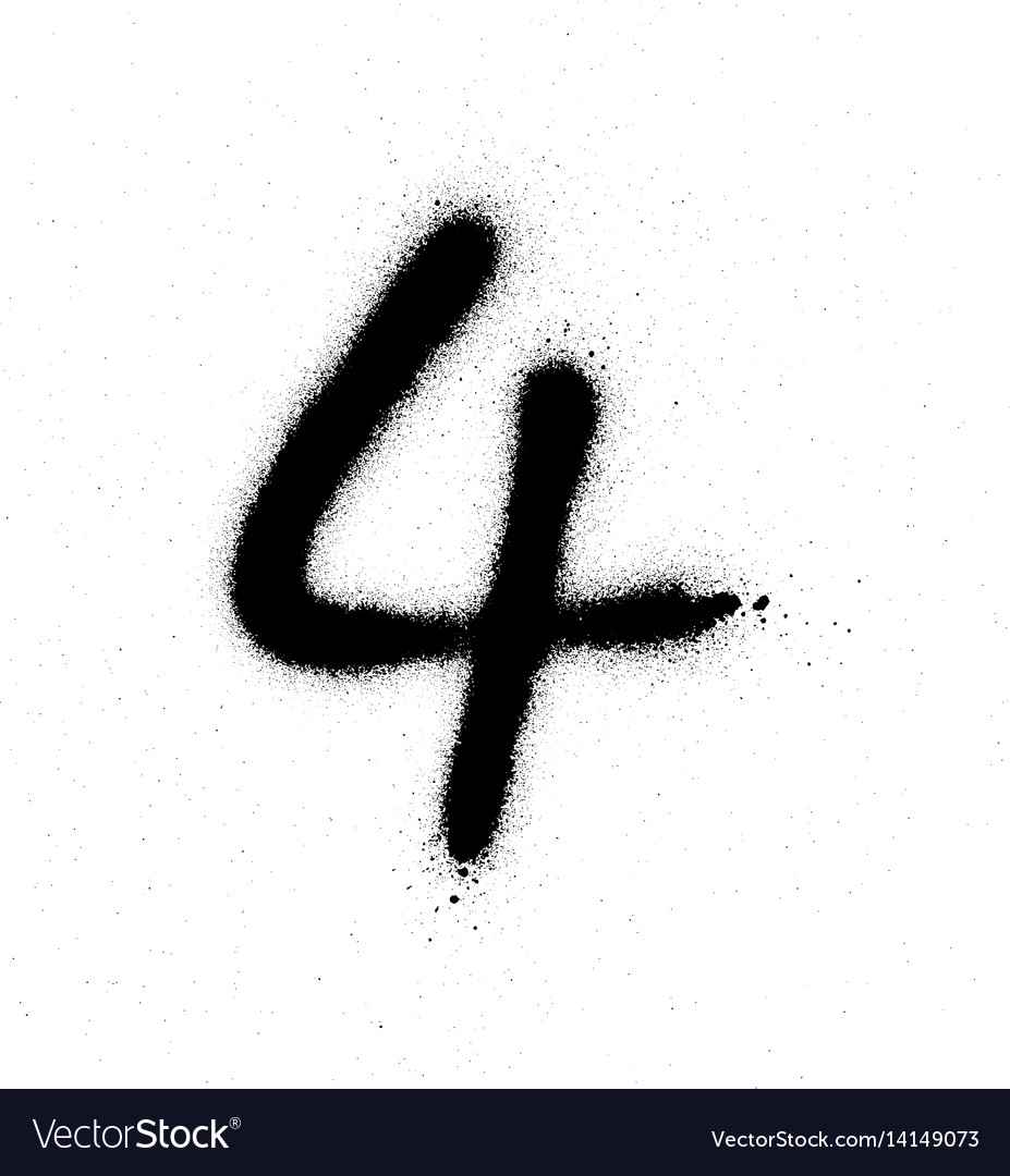 Graffiti sprayed number 4 four in black on white vector image