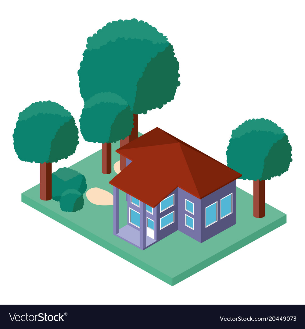 Mini tree and house isometric