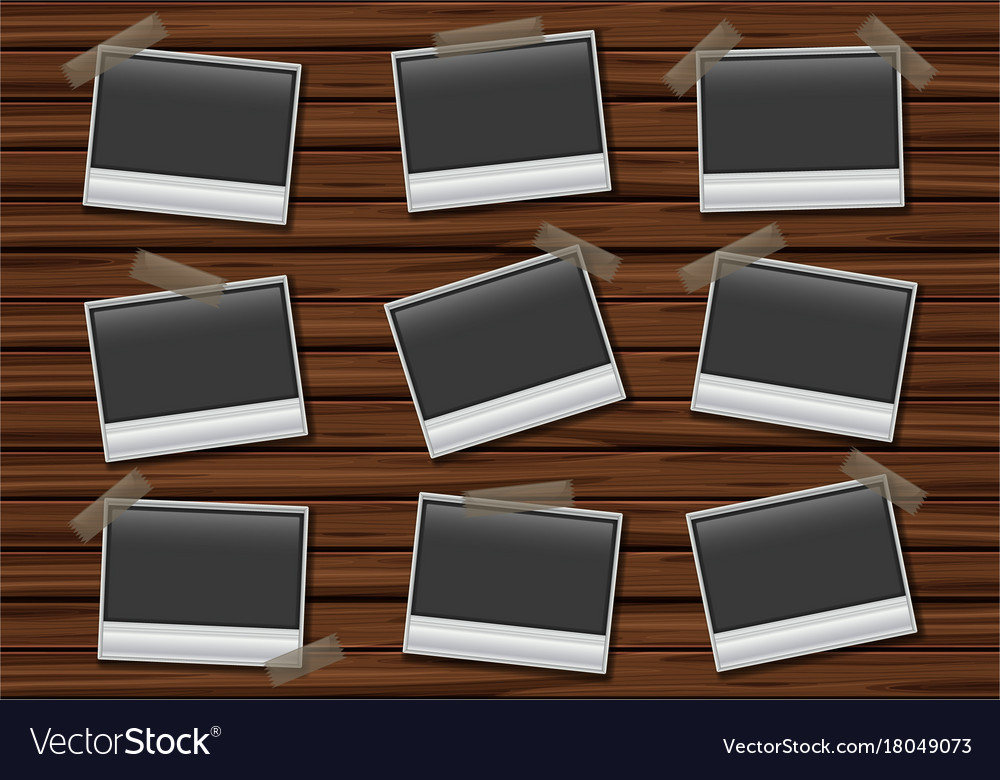 Nine Blank Picture Frames On Wooden Board Vector Image