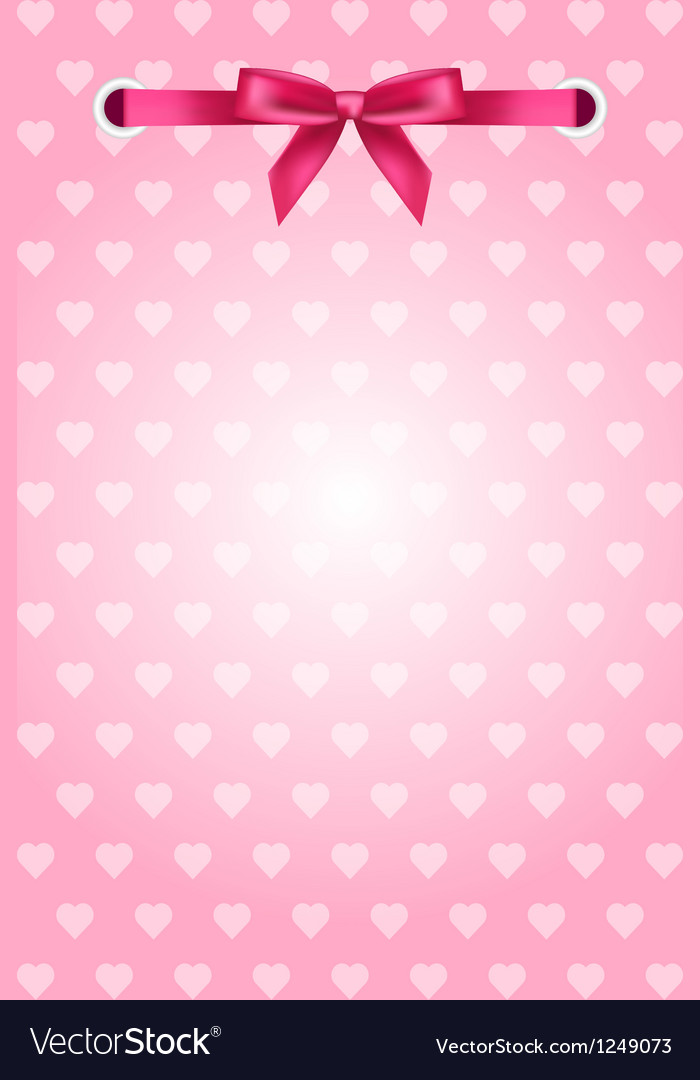 Pink background with hearts and ribbon