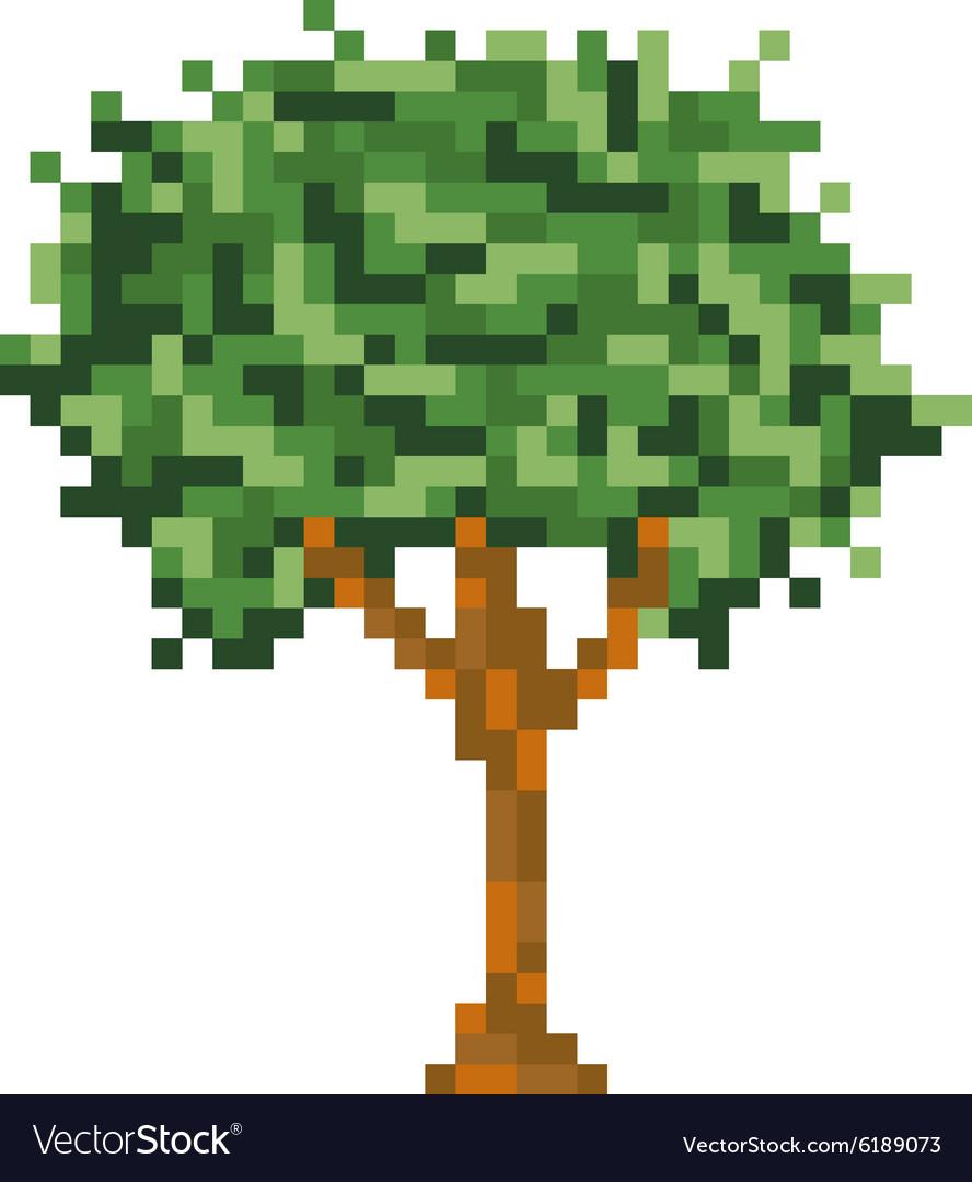 Pixel art tree isolated icon