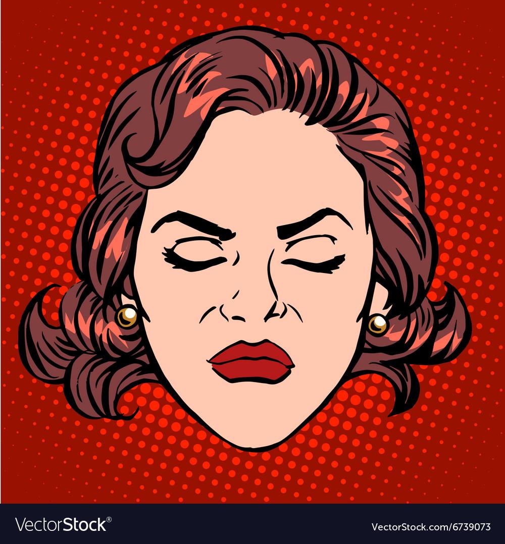 Retro emoji anger rage woman face