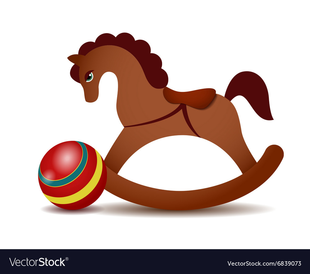 Rocking horse and a red ball