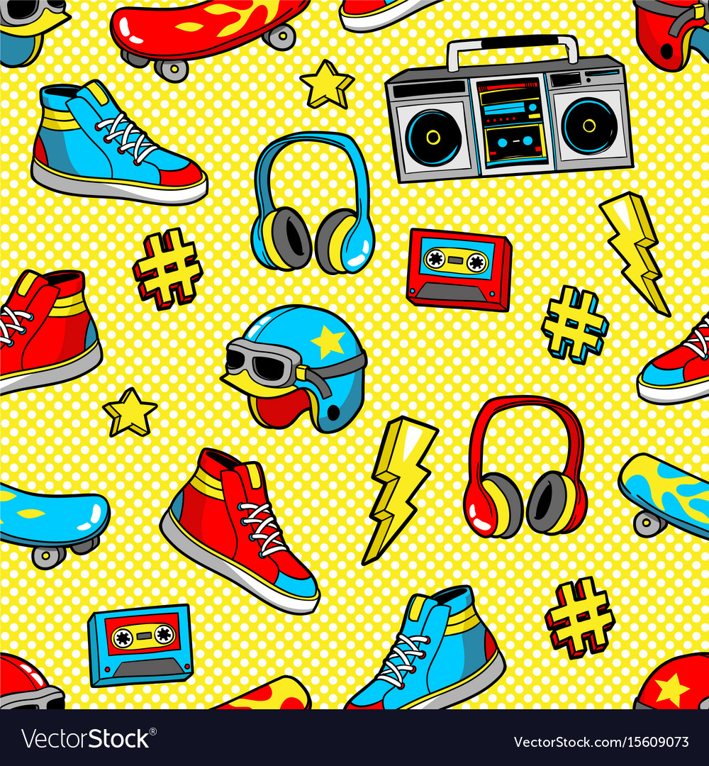 Seamless pattern in cartoon 80s-90s comic style