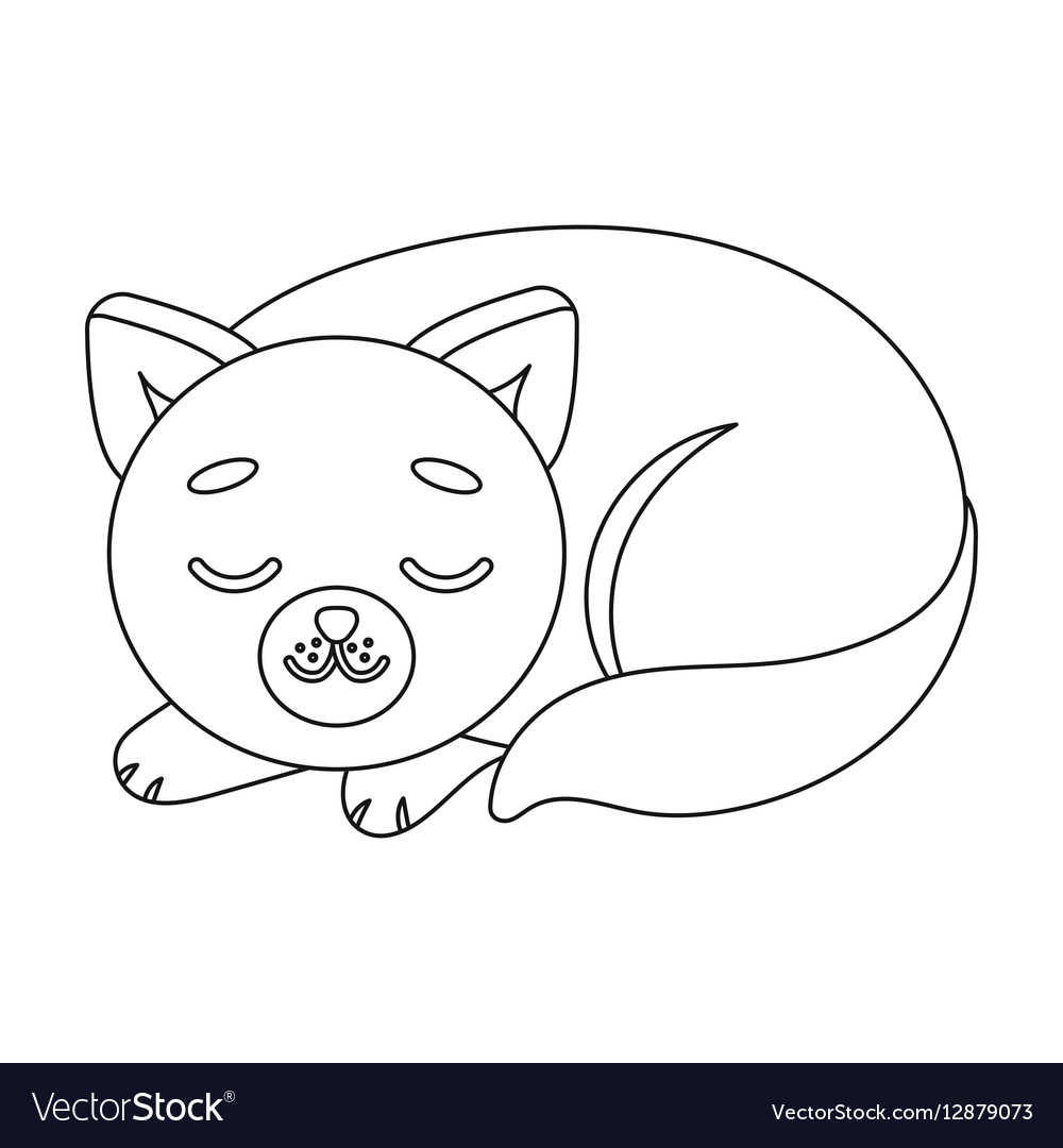 Sleeping cat icon in outline style isolated on vector image