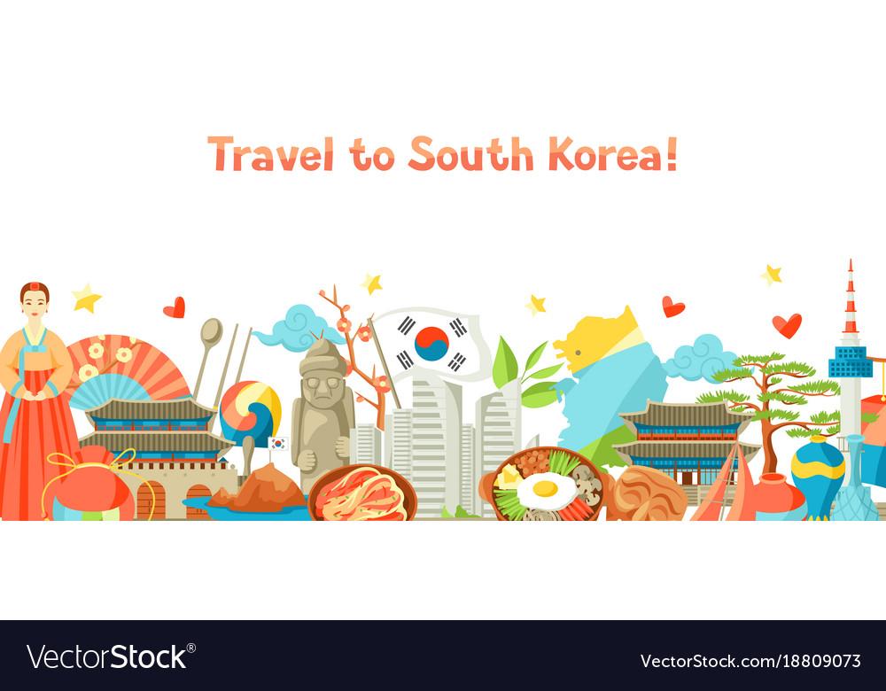 South korea banner design korean traditional vector image