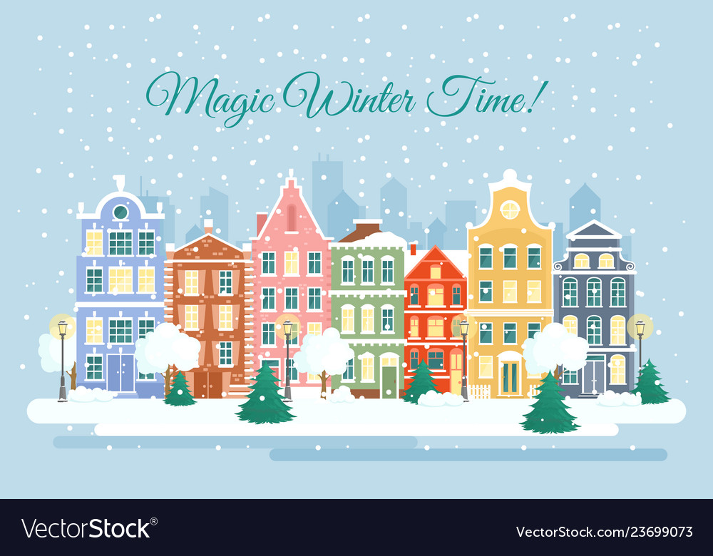 Town in wintertime vector