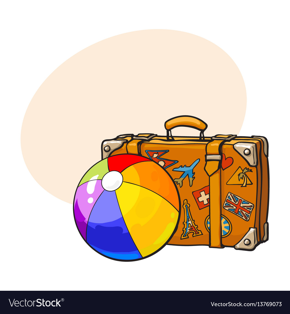 Travel suitcase with colorful labels and rainbow