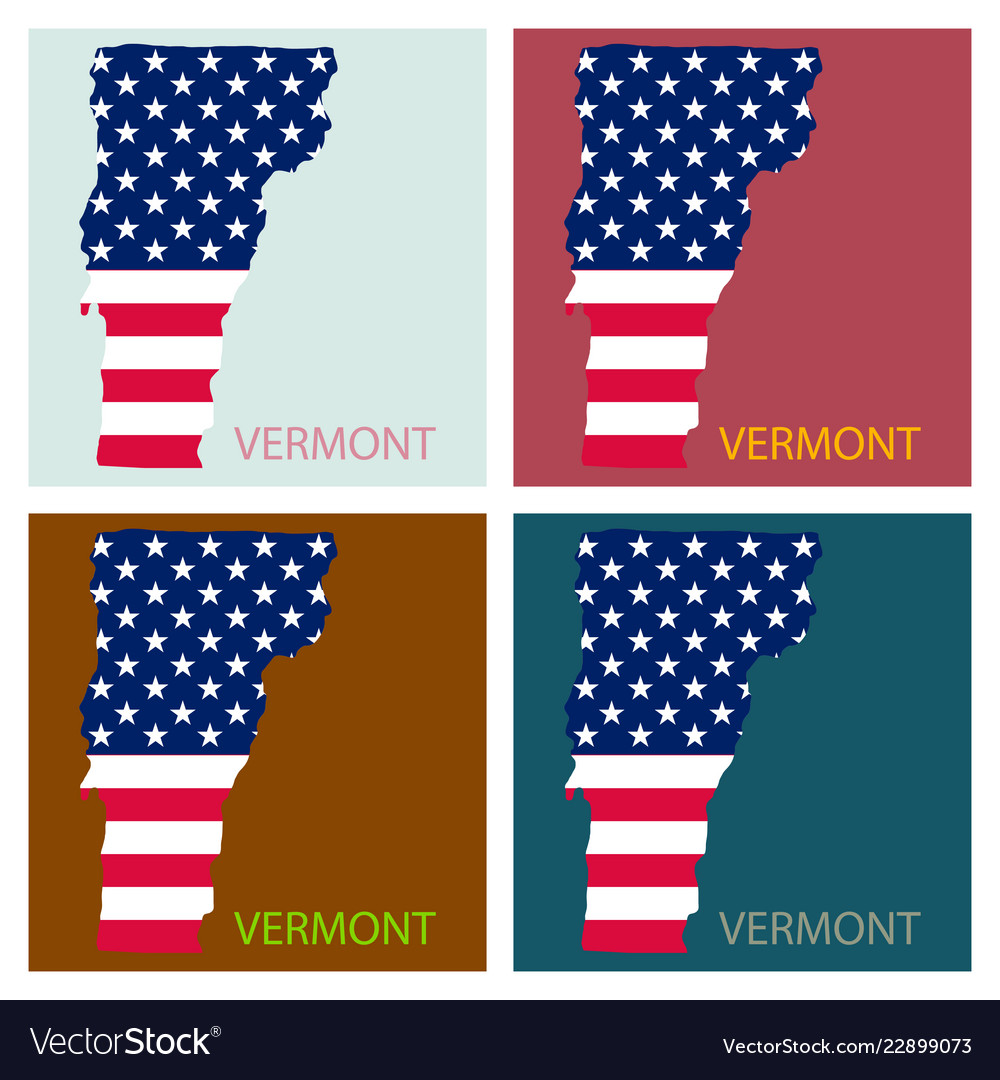 Map Of America Vermont.Vermont State Of America With Map Flag Print On
