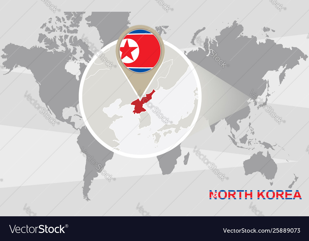 World map with magnified north korea