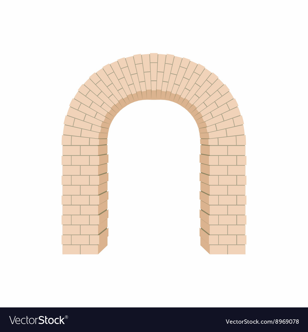 Arch of bricks icon cartoon style