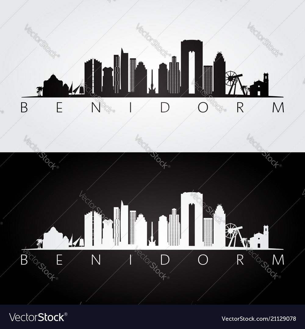 Benidorm skyline and landmarks silhouette