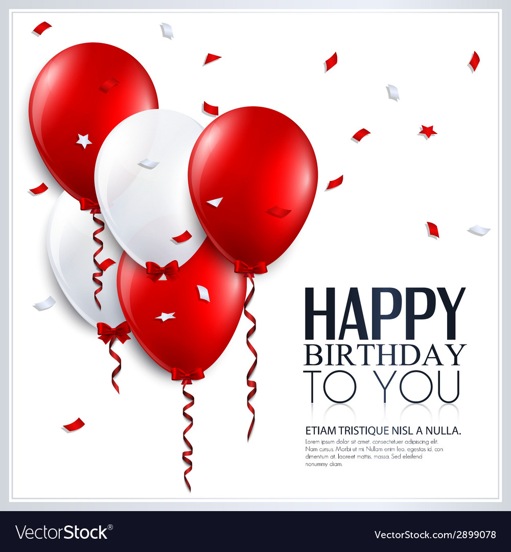 Birthday card with balloons and confetti vector image