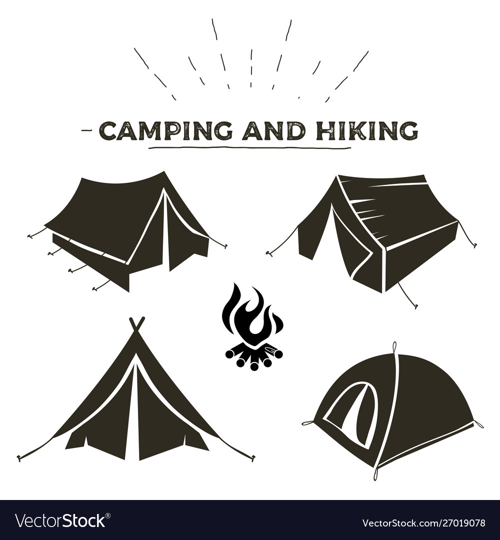Camping and hiking tent types in outline design