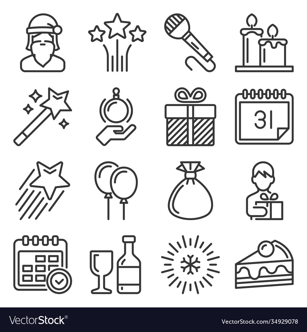 Celebration new year icons set on white background