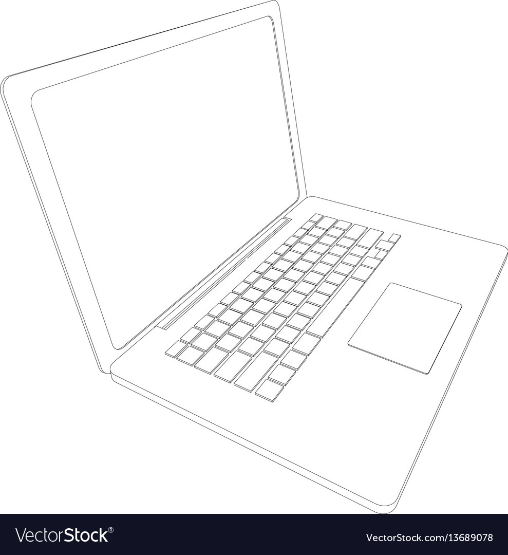 Drawing of wire-frame open laptop Royalty Free Vector Image