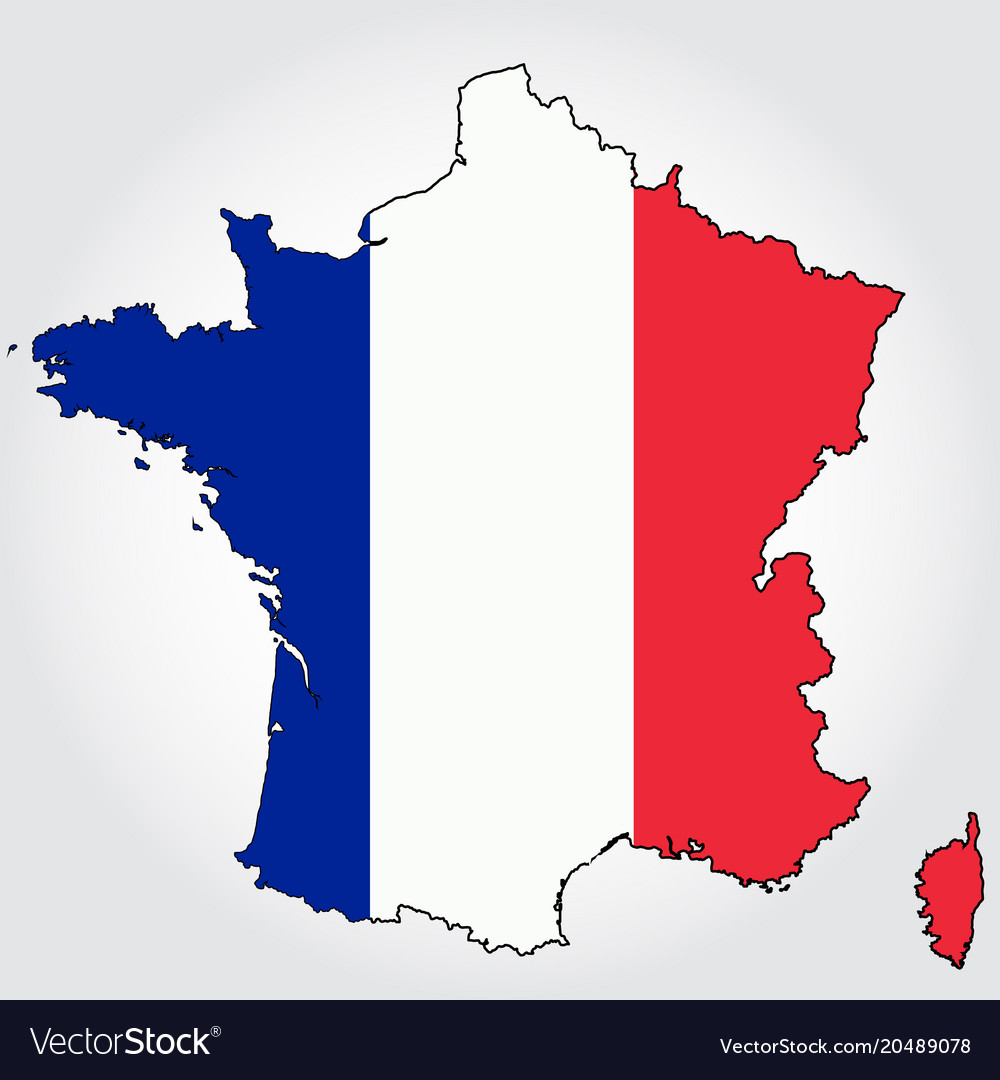 France Map Outline With Map Royalty Free Vector Image