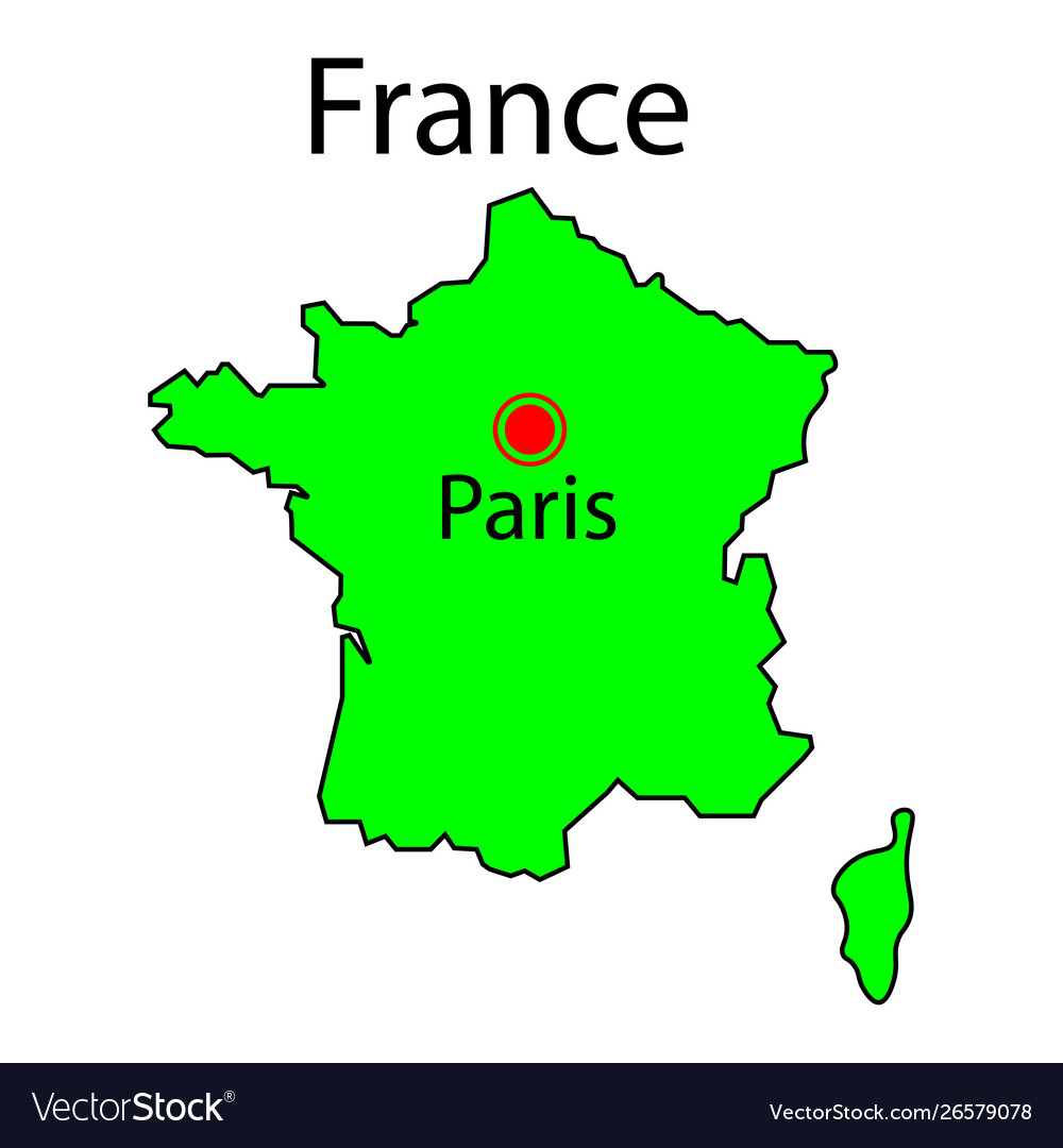 The Map Of France With The City.Map France And Corsica Green Sign Paris City
