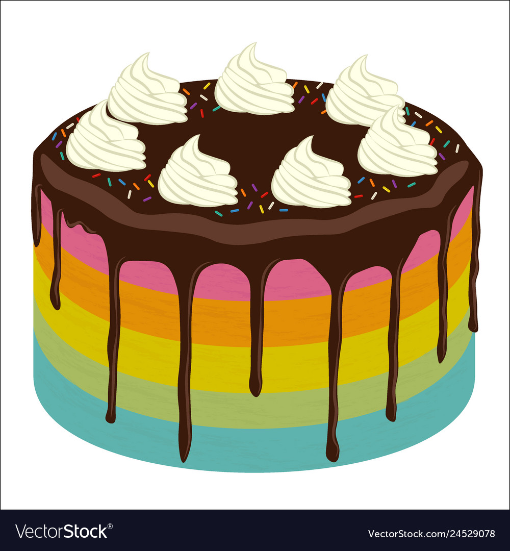 Super Rainbow Birthday Cake Image Royalty Free Vector Image Funny Birthday Cards Online Elaedamsfinfo