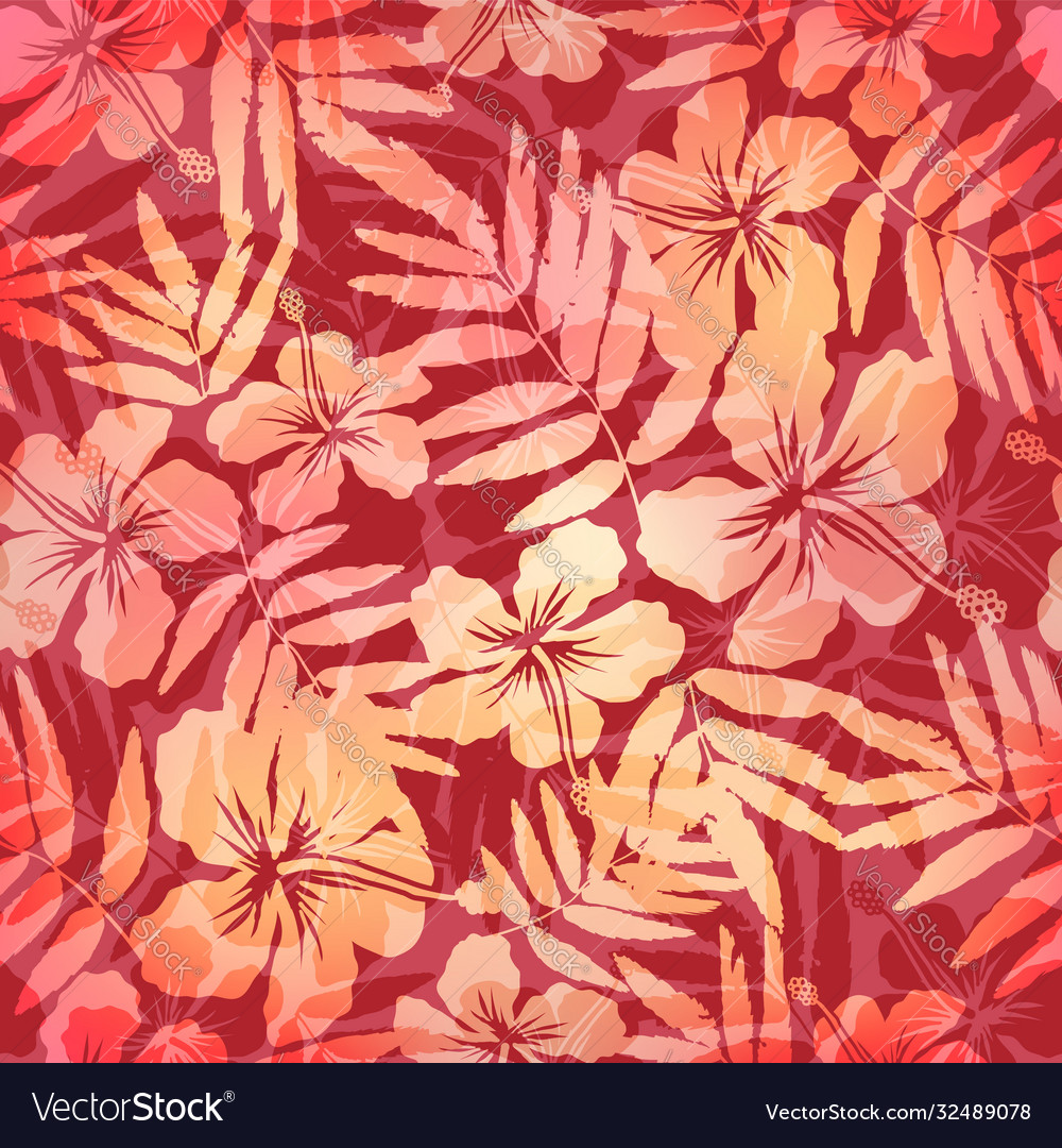 Red and pink tropic flowers seamless pattern tile
