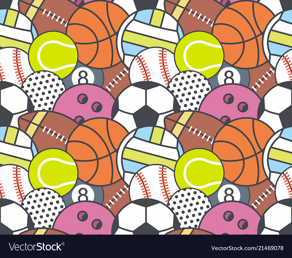 Seamless pattern with collection of sports balls