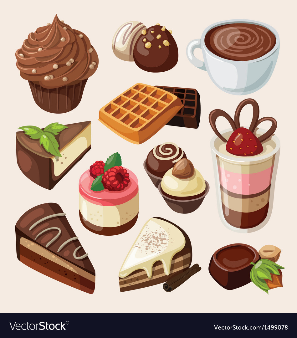 Set of chocolate sweets cakes and other food