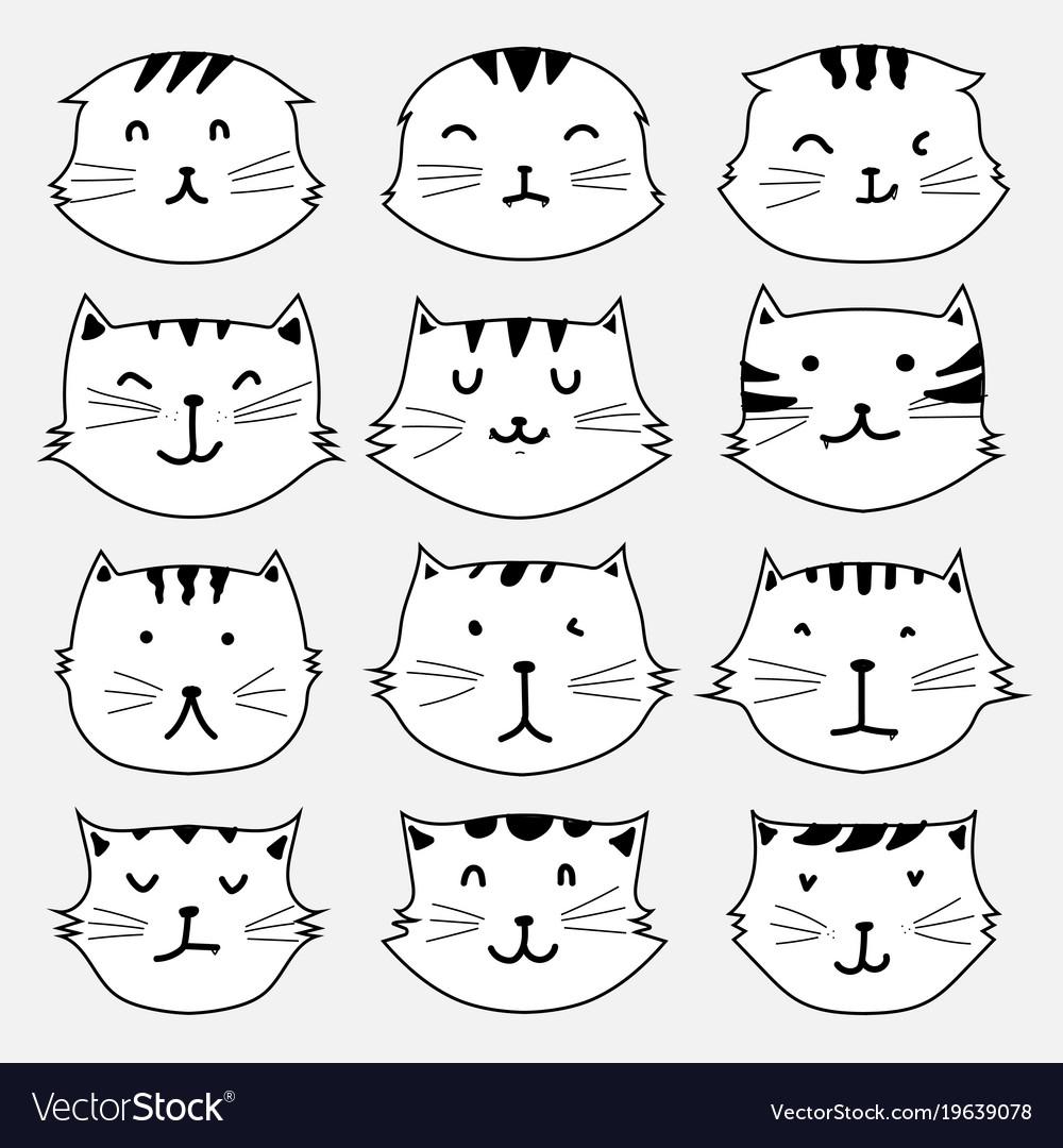 Set of cute cat sticker