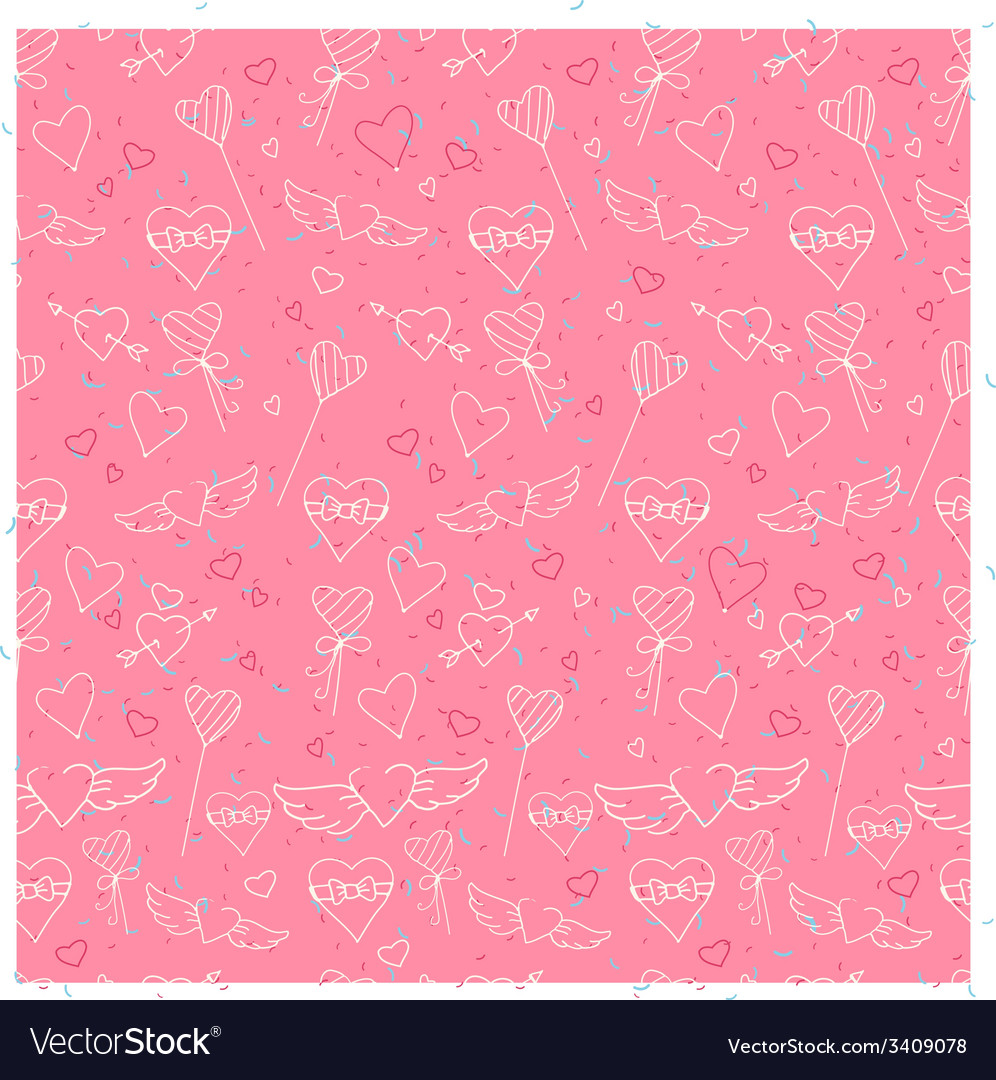 Sketch style Valentines Day seamless pattern