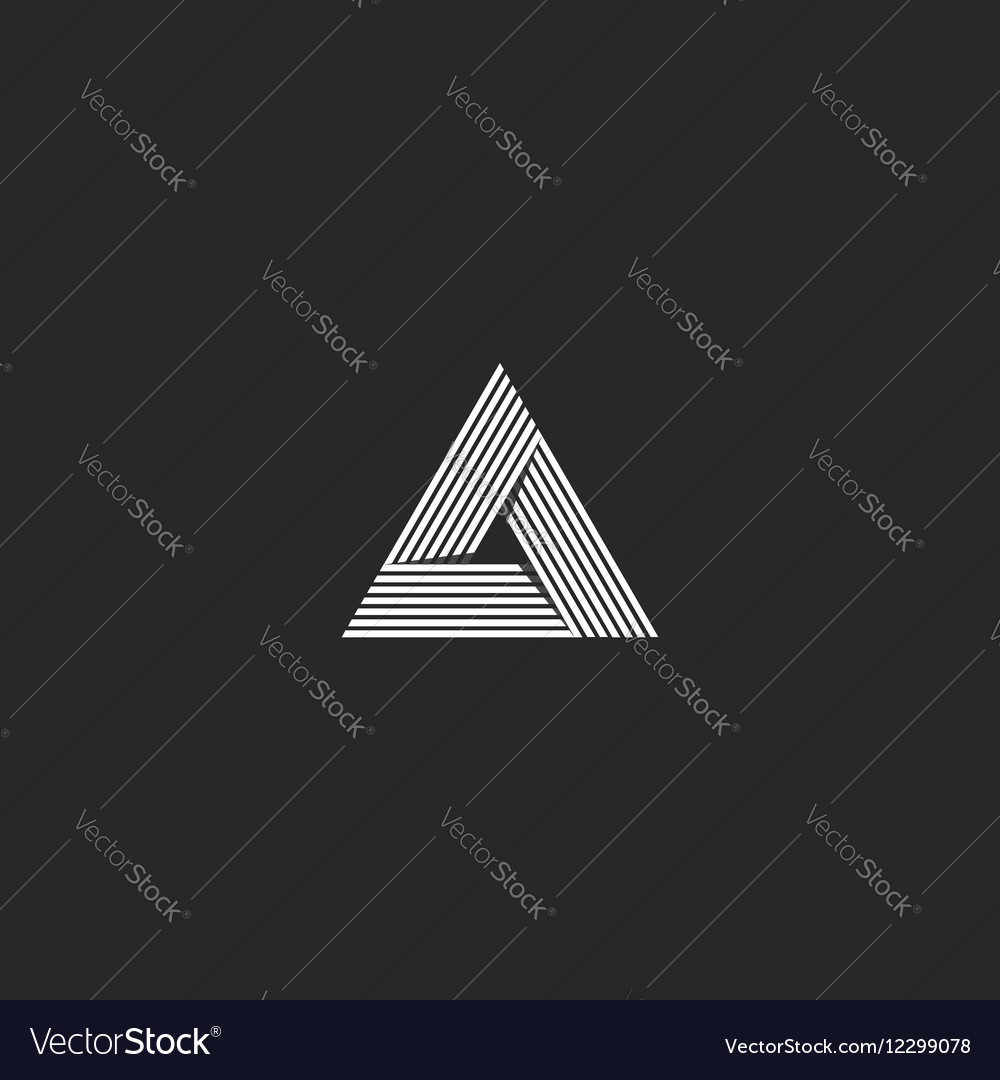 Triangle logo isometric infinity sharp corner vector image