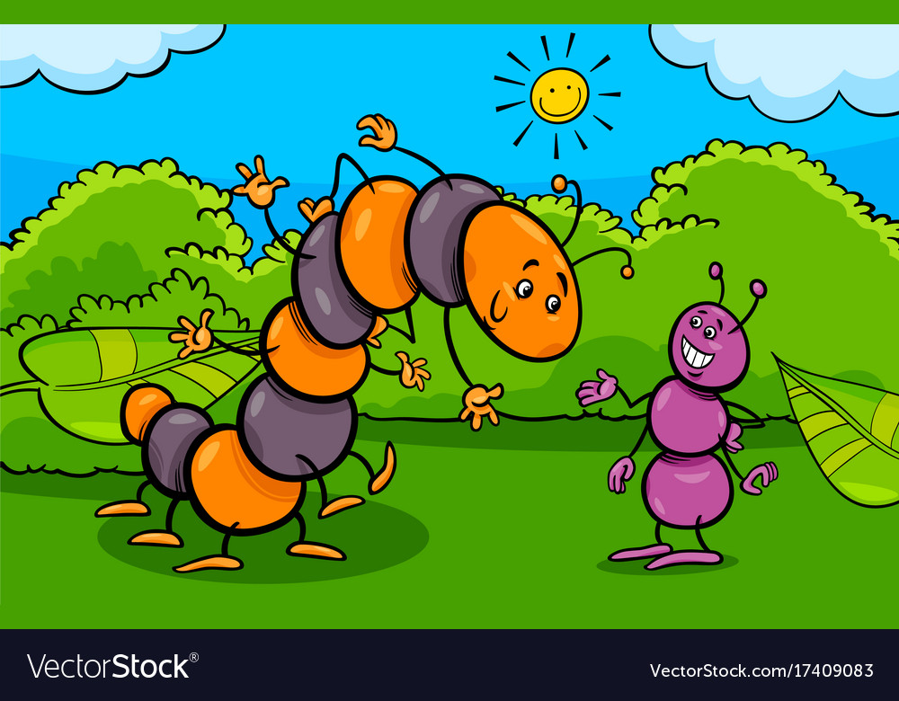Ant and caterpillar insect cartoon characters