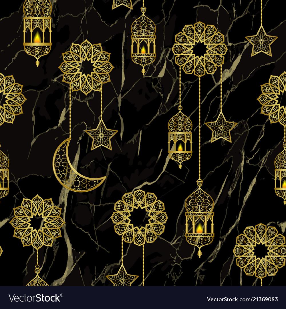 Arabic golden lantern seamless pattern