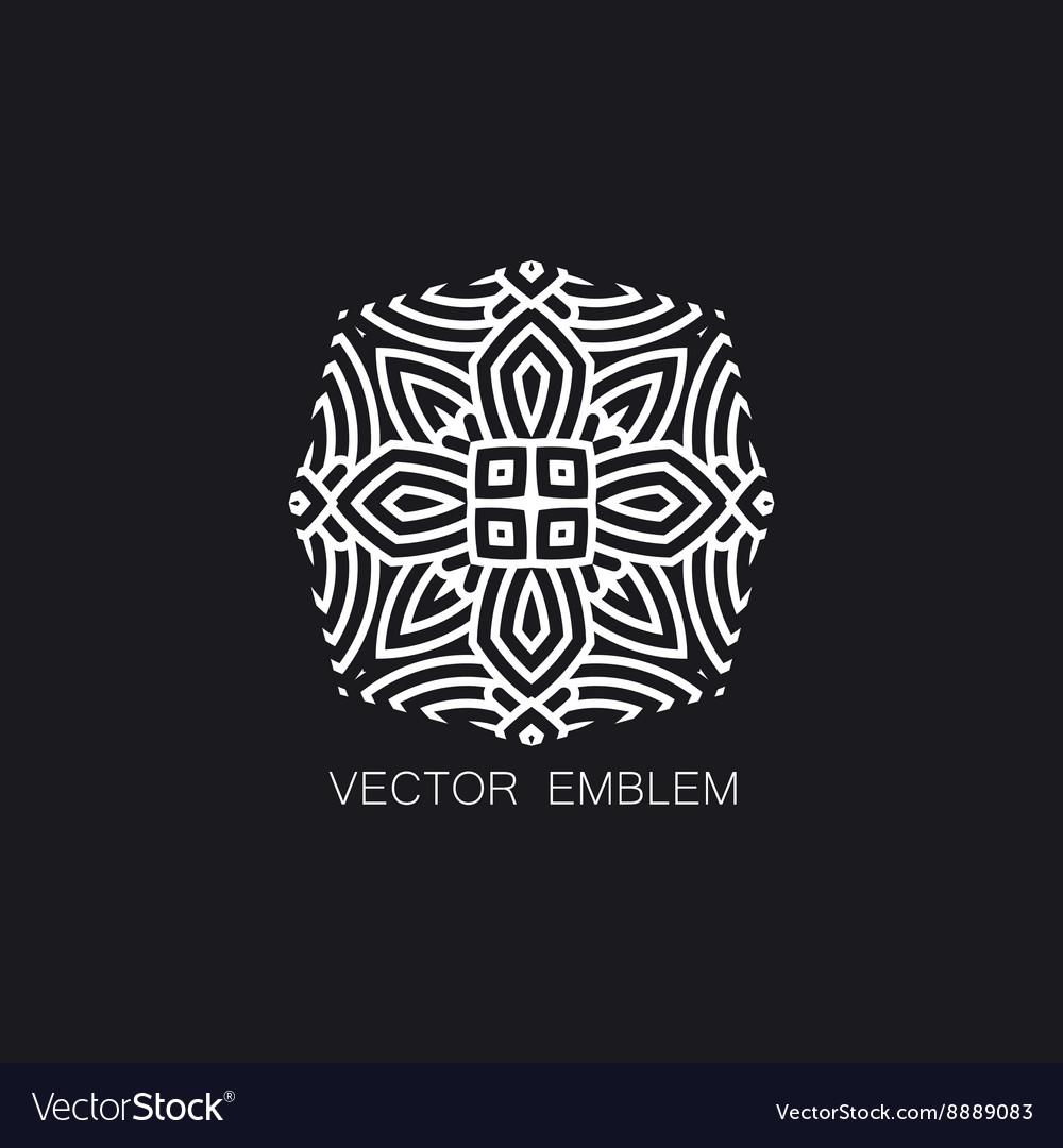 Art-deco white emblem vector image