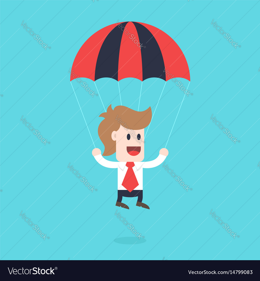 Businessman cartoon character - guy with parachute