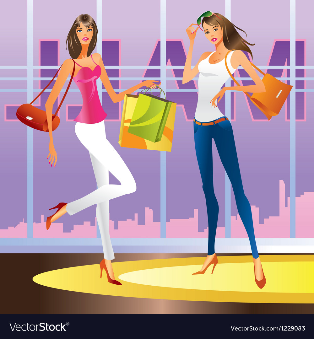 Fashion girls in the mall