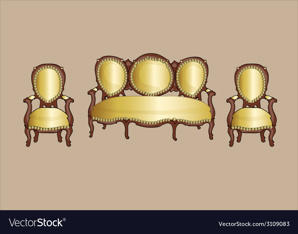 gold retro armchair and couch vector