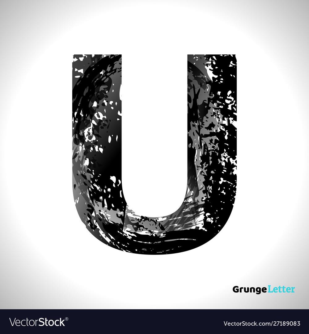 Grunge letter u black font sketch style symbol