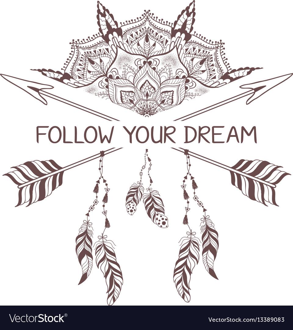 Hand drawn boho style design with mandala arrow vector image