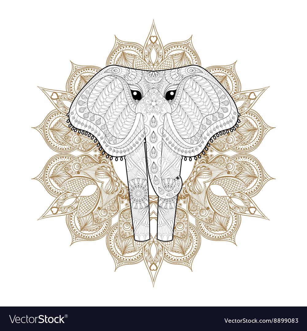 Hand drawn zentangle Ornamental Elephant on