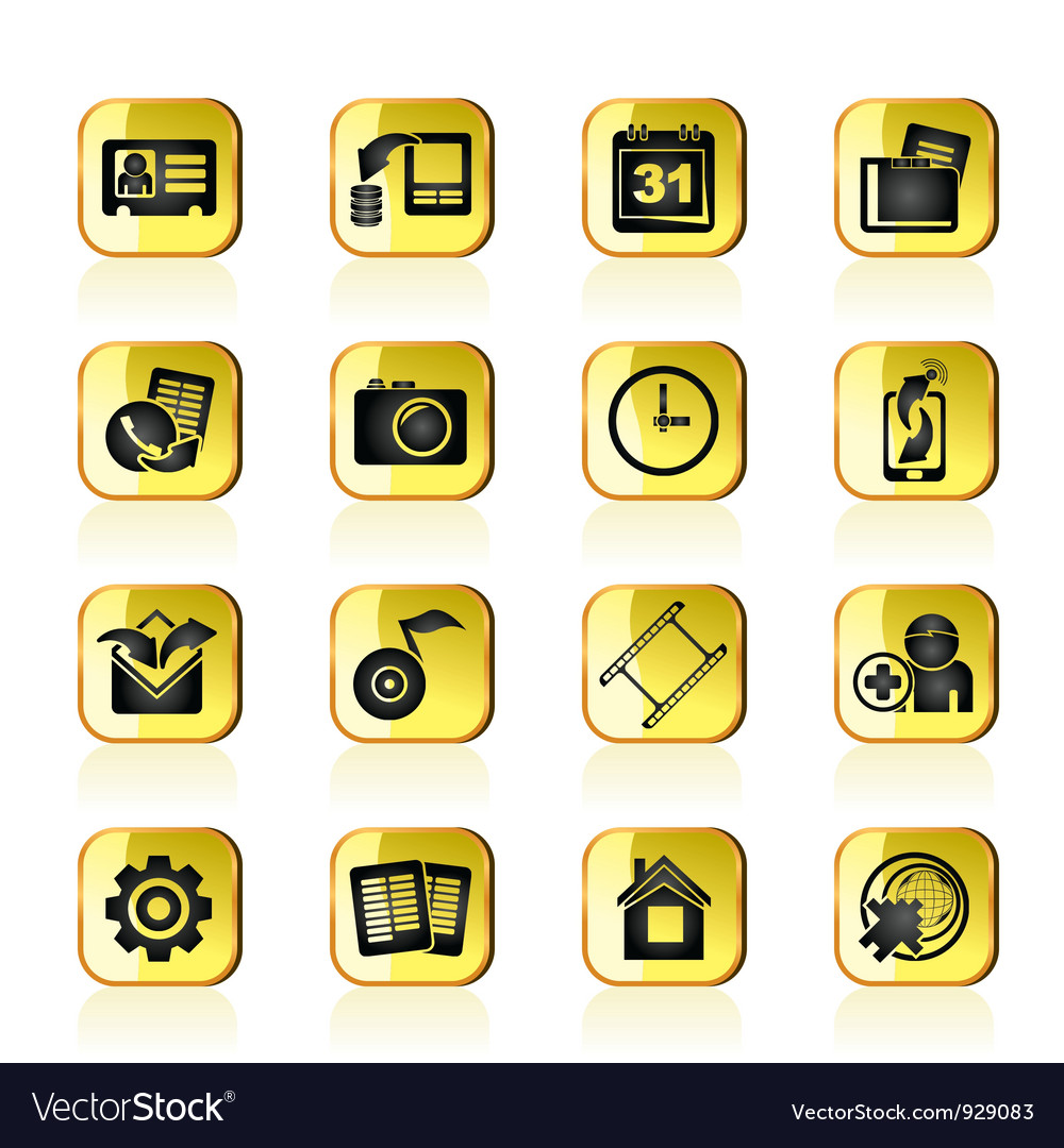 Mobile phone menu icons vector image