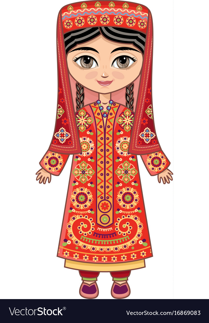 Tajikistan historical clothes vector image