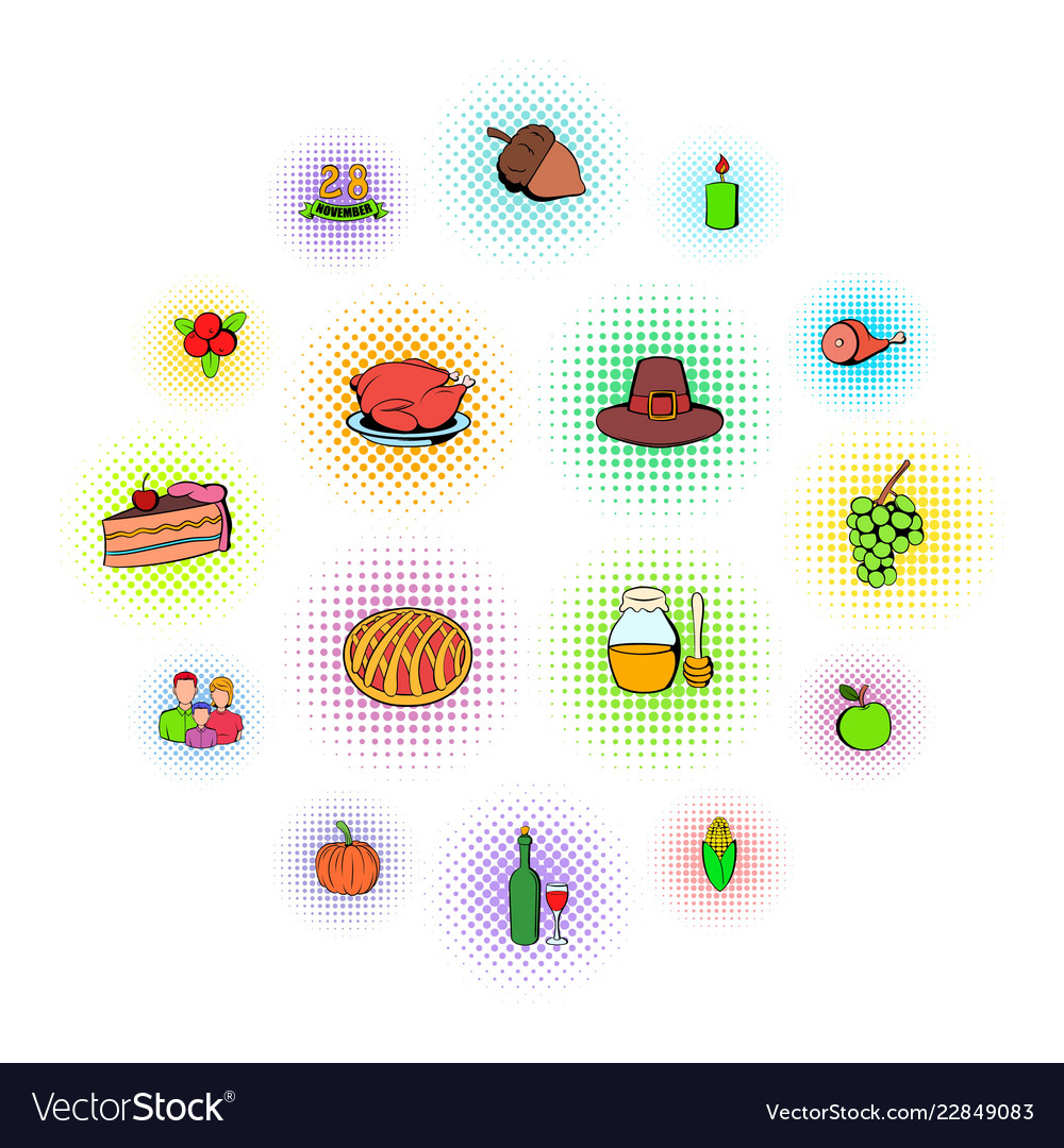 Thanksgiving day set icons