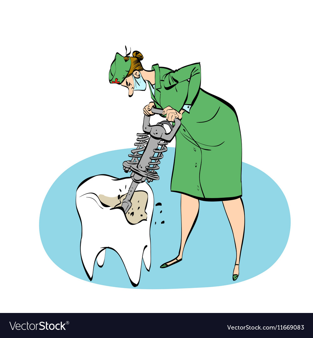 The dentist drills a tooth humorous vector image