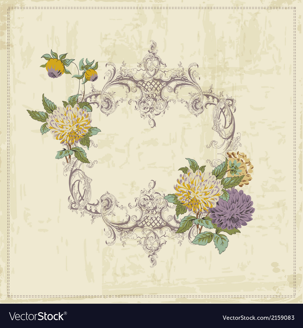 Vintage Card - with Retro Frame and Flowers vector image