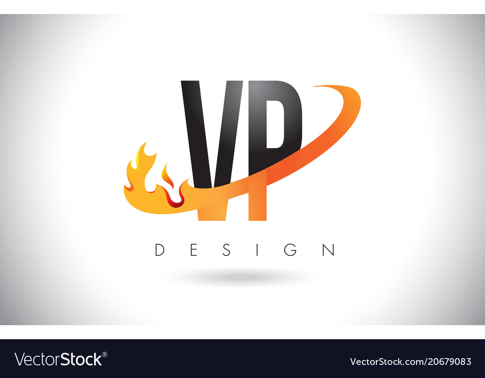 Vp v p letter logo with fire flames design and