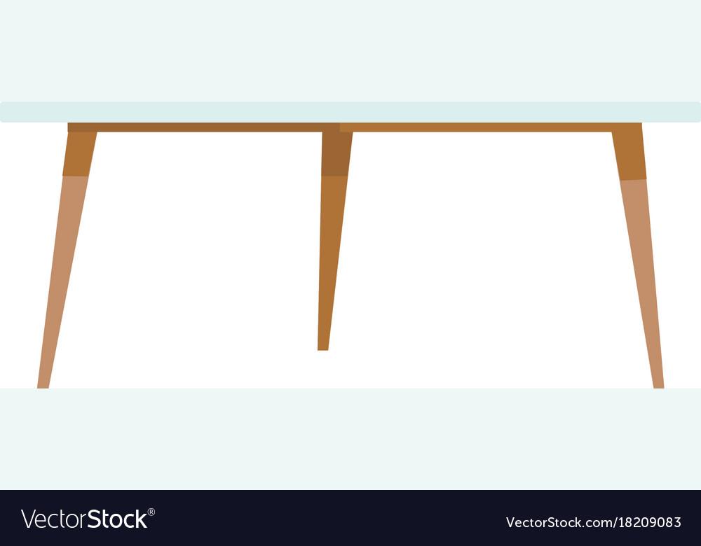 White Coffee Table Cartoon Vector Image