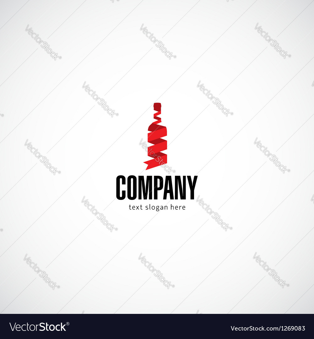 Wine bottle company logo vector image