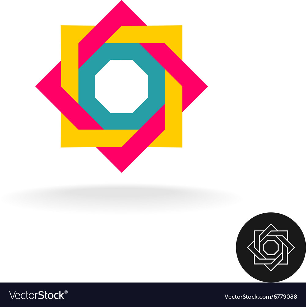 Abstract colorful square frame corner logo Outline