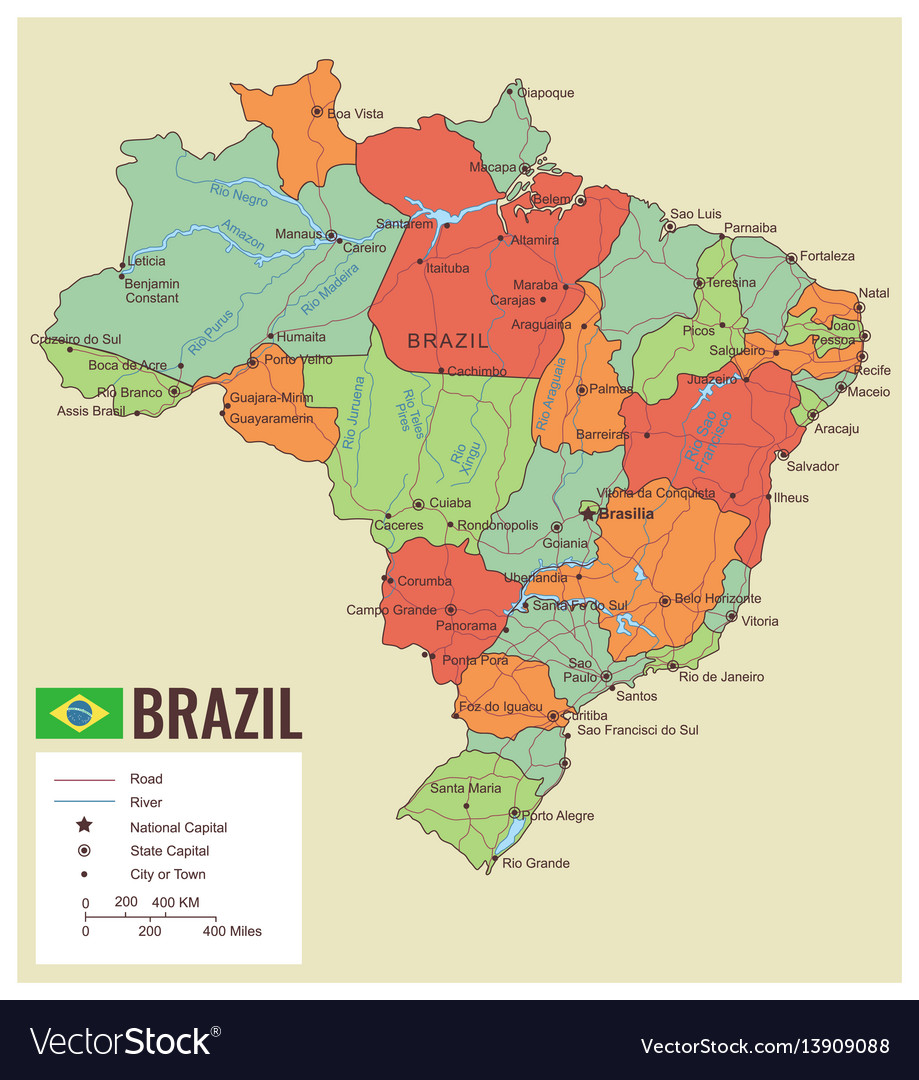 Brazil political map with selectable territories vector image gumiabroncs Images