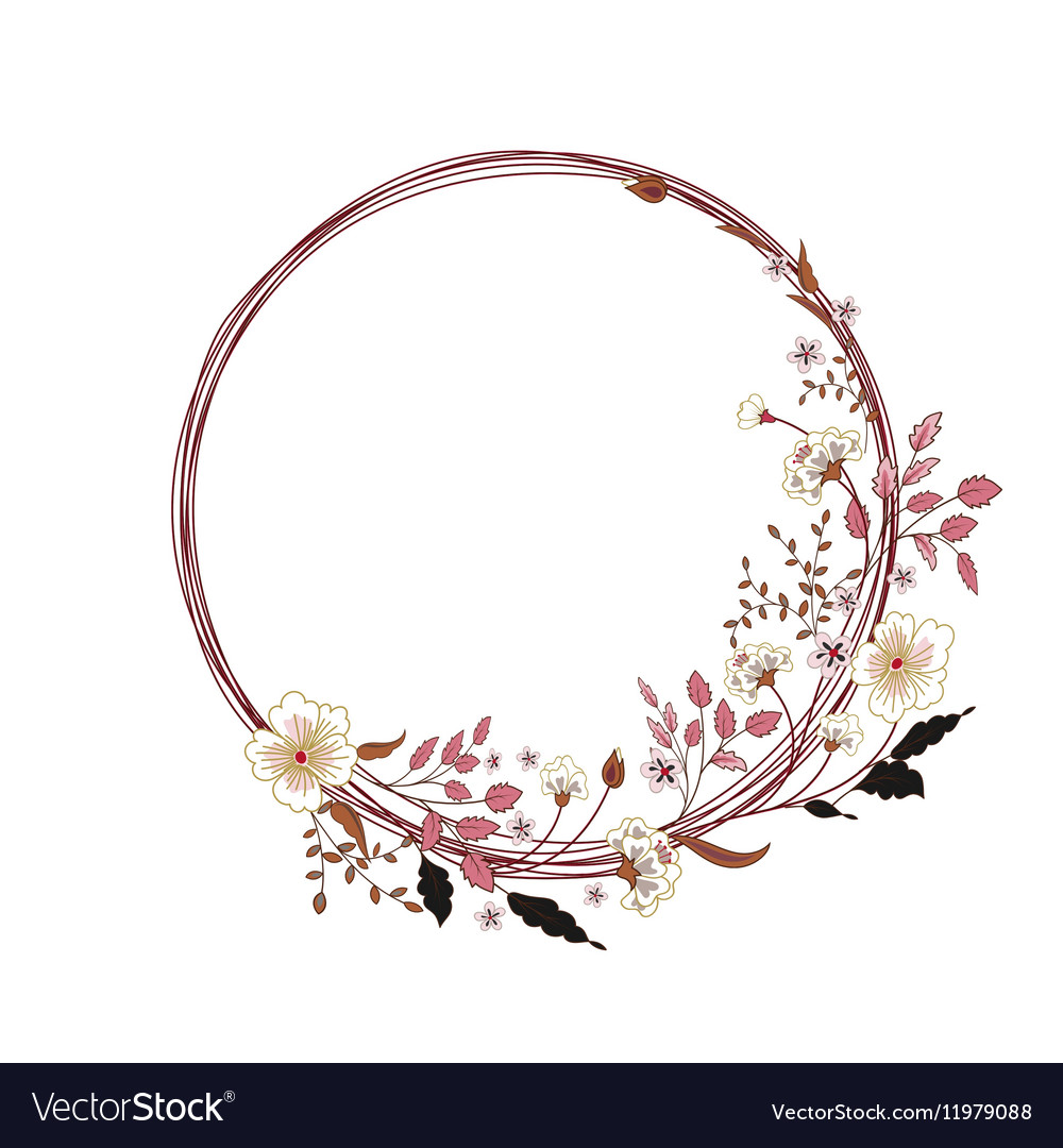 Cute floral round frame Hand drawing