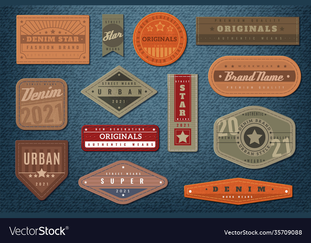 Denim labels graphic leather badge and textured